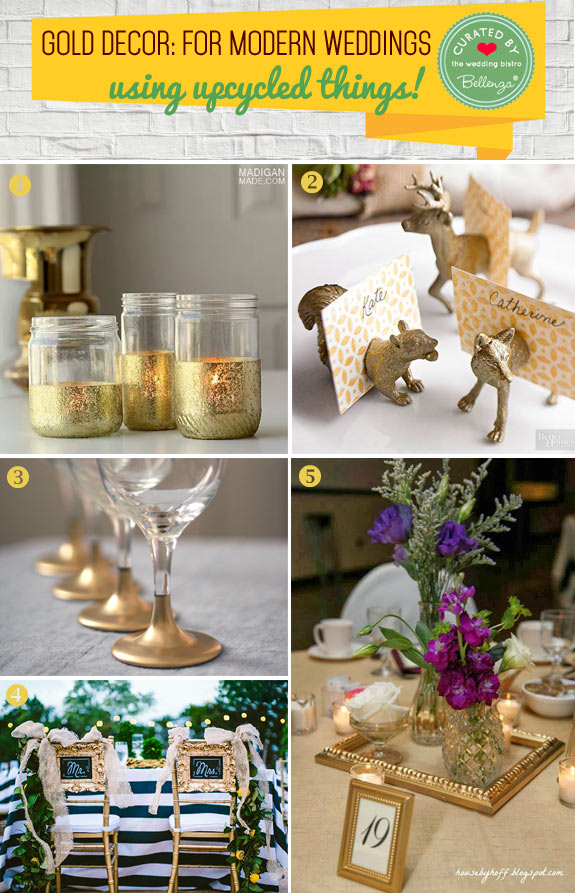 Upcycled gold wedding decor