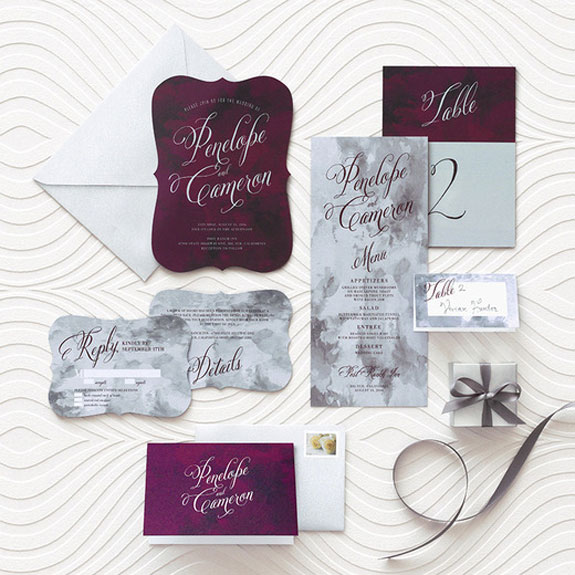 Burgundy Wedding Invitations Vintage Styles With Gold Foil