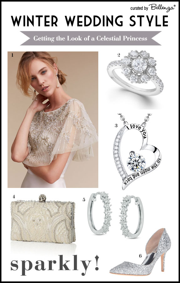 Shimmery and Sparkly Style Elements for a Winter Bride Inspired by Stars and Moon.