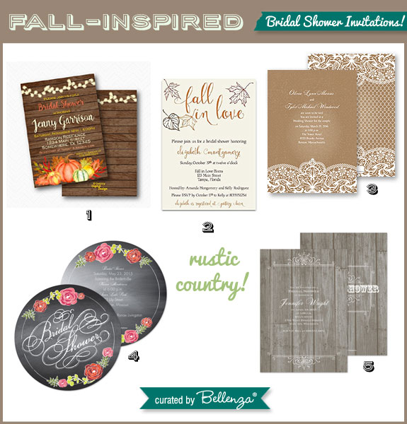 Rustic Country Invitations for a Fall Bridal Shower