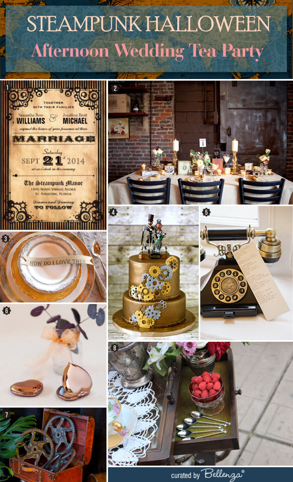 Styling a Steampunk Halloween Afternoon Wedding Tea Party // Curated Finds by Bellenza.