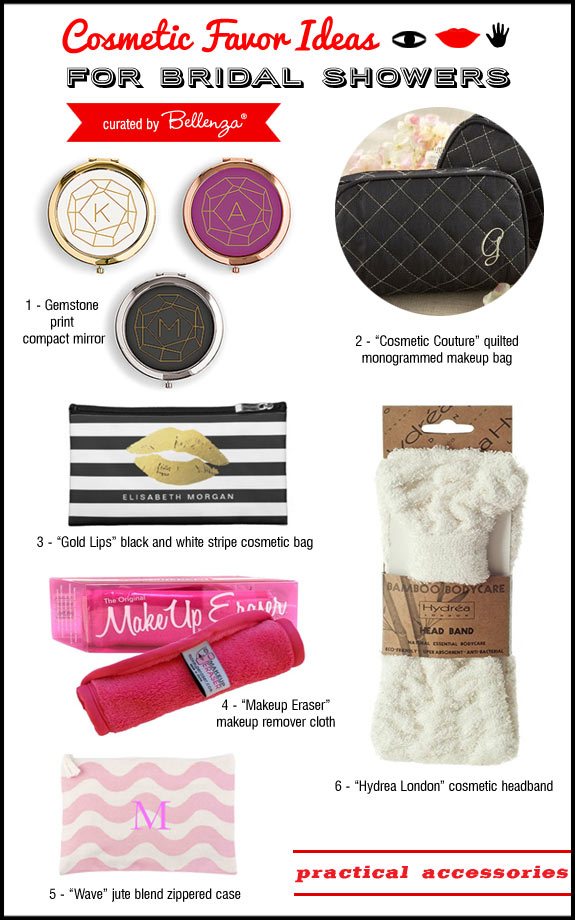 Cosmetics favors accessories like cosmetic purses and compacts.