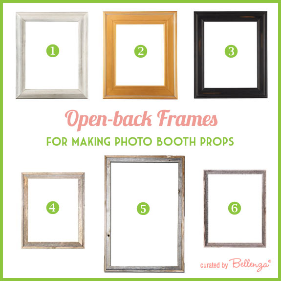 Open back frames in wood with finishes of gold, black, and white.