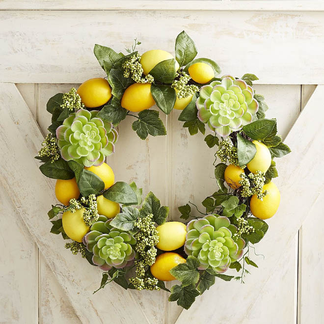 3 - Faux Lemon, Succulent and Ivy Wreath