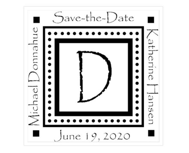 Papyrus Save the Date Rubber Stamp - via Zazzle