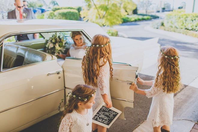Image provided by Bwedding Invitations. Vintage bridal car in white.
