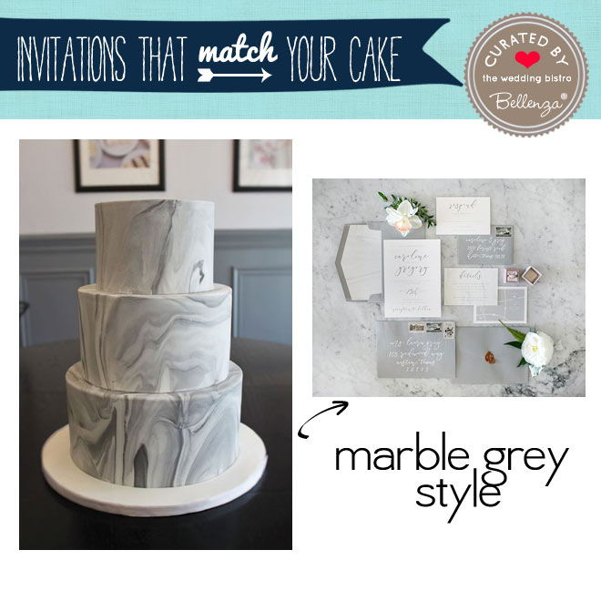 Marbled grey cake and invitation