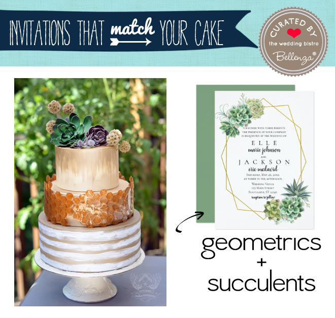Succulents + Geometric cake and wedding invitation