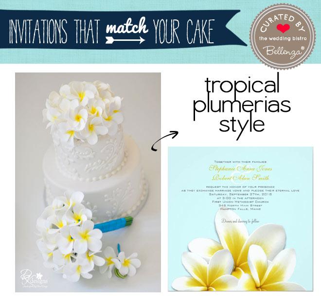 Tropical Plumeria cake and invitation