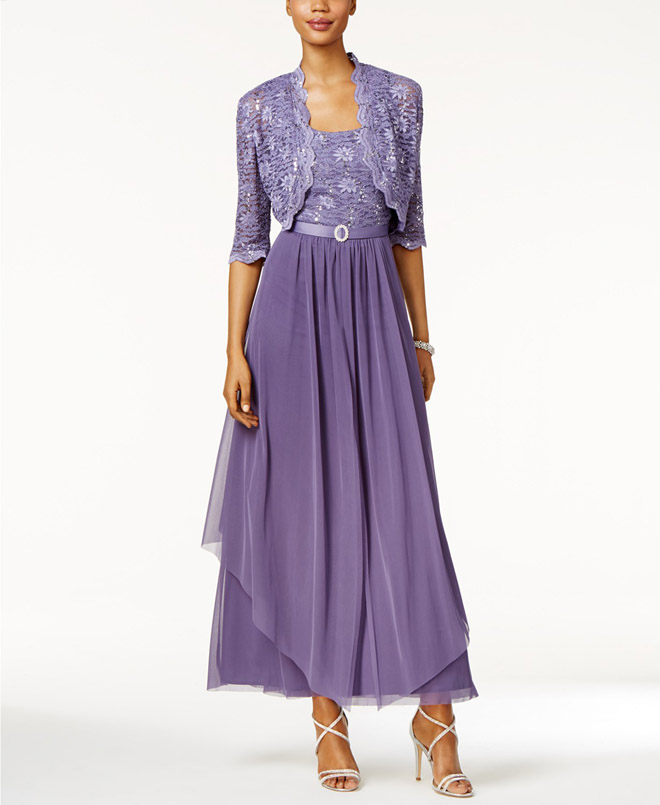 R&M Richards Sequined Lace Belted Chiffon Gown and Cropped Jacket