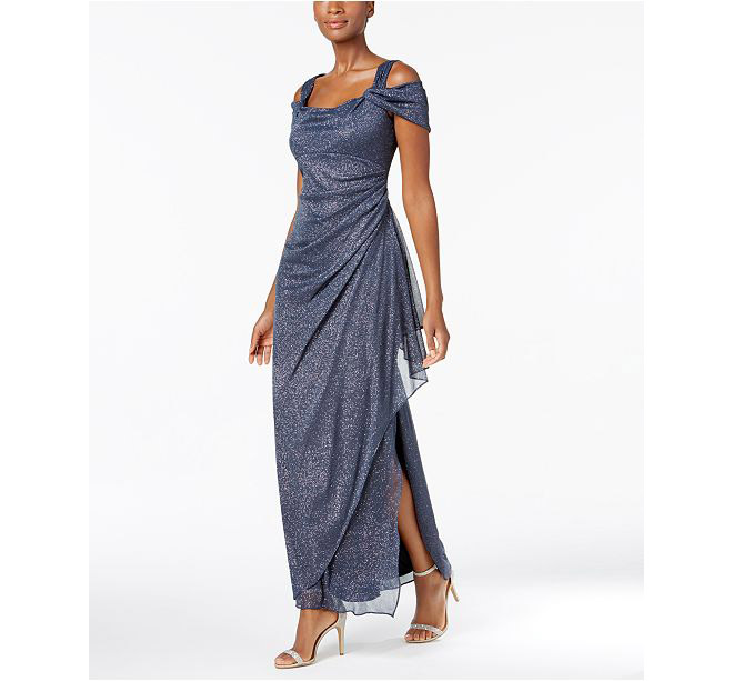 Alex Evenings - Cold-Shoulder Draped Metallic Gown