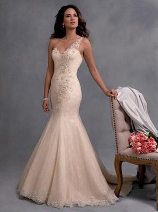 from Alfred Angelo, single shoulder strap dress