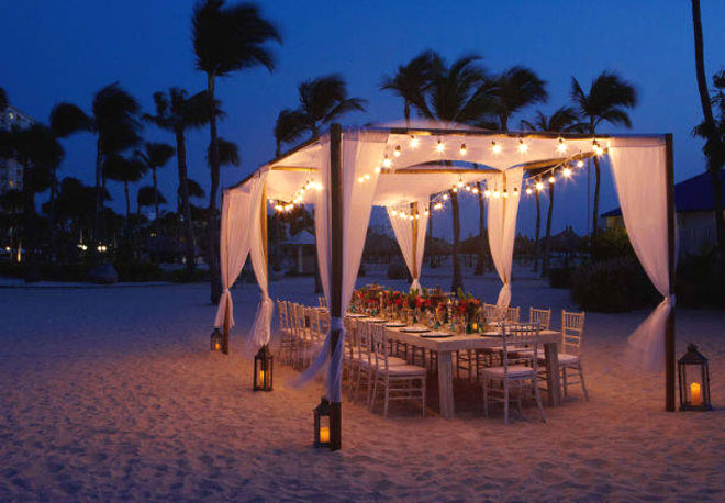 Aruba-Marriot Wedding Reception at Night