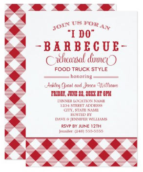 "2 - Checkered ""I Do"" BBQ Rehearsal Dinner Card"