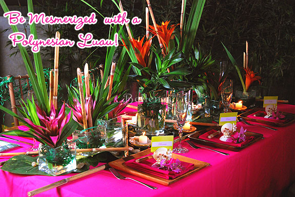 Polynesian-inspired table decorations