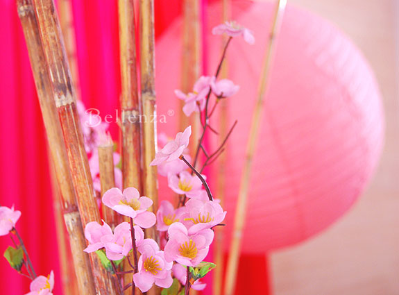 pink mini flowers and pink lanterns