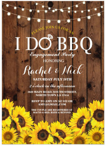 "1 - ""I Do"" BBQ Sunflower Couple Shower Rustic Invite"