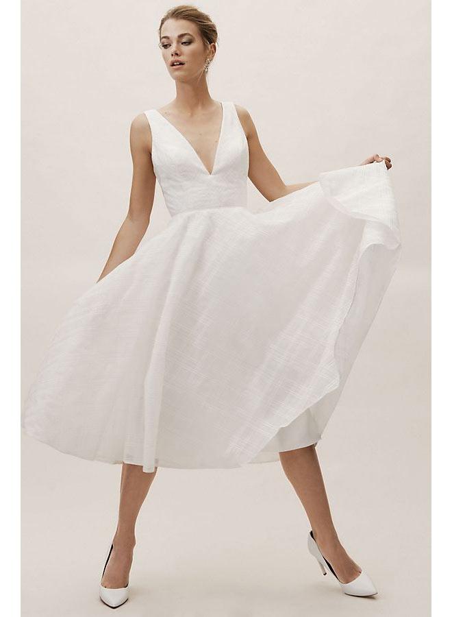 V-neck A-line White Dress