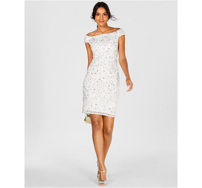 Off-The-Shoulder Beaded Sheath Dress