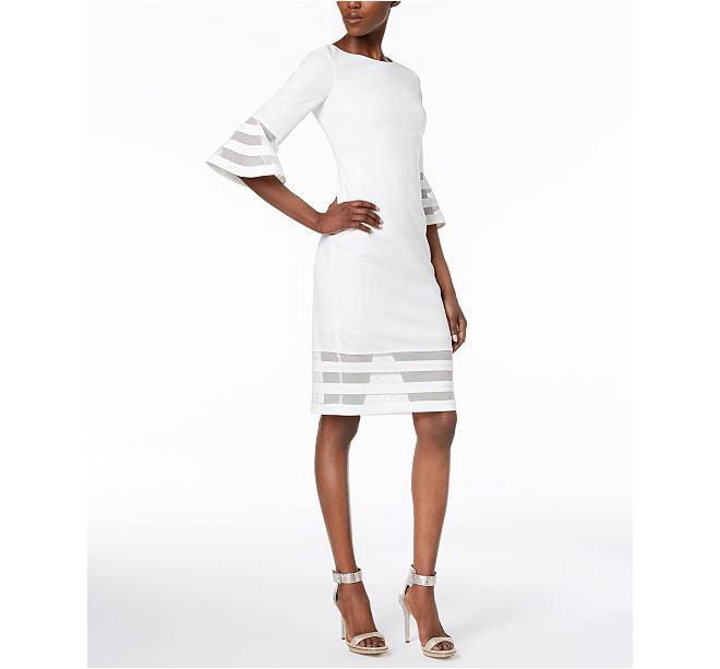 White trim sheath dress