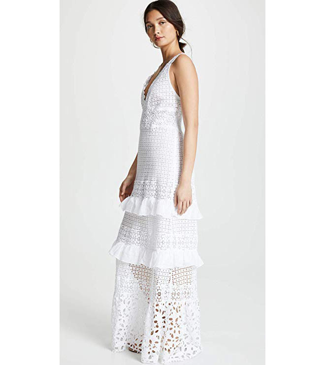 V-neckline and a tiered skirt edged with ruffles