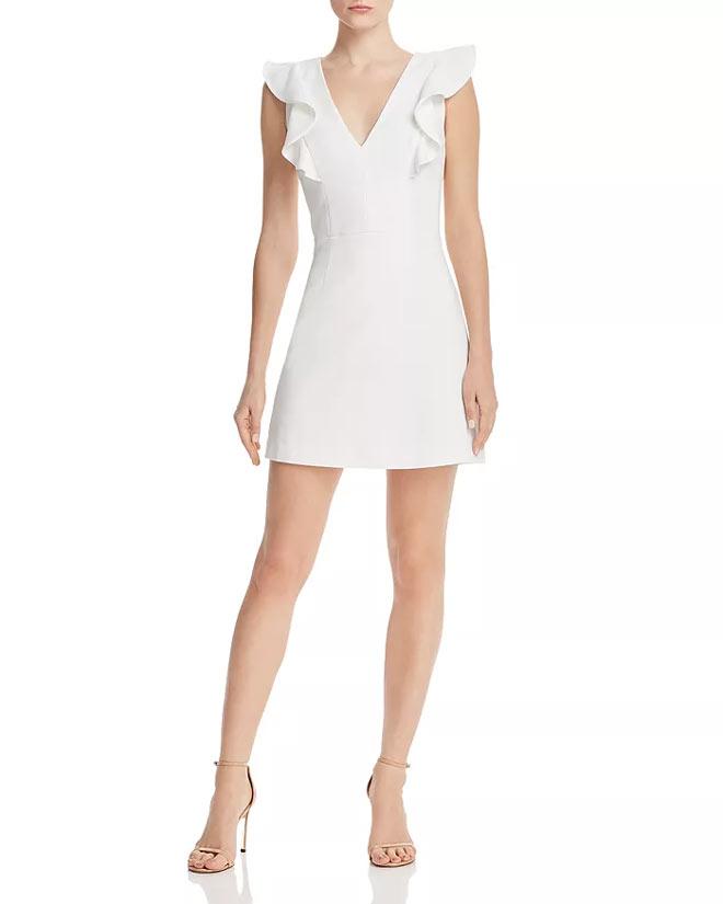 Whisper Ruffled V-Neck Mini Dress