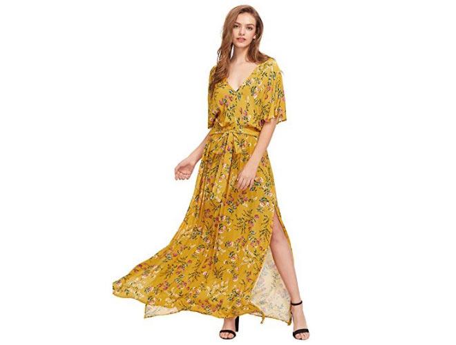 Boho Split Tie-Waist Vintage Print Maxi Dress