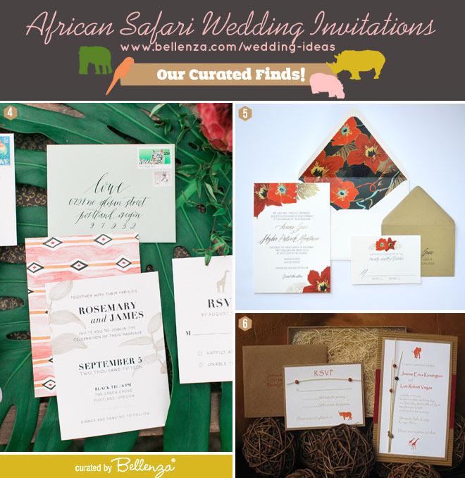 Elegant African safari wedding invitation suite