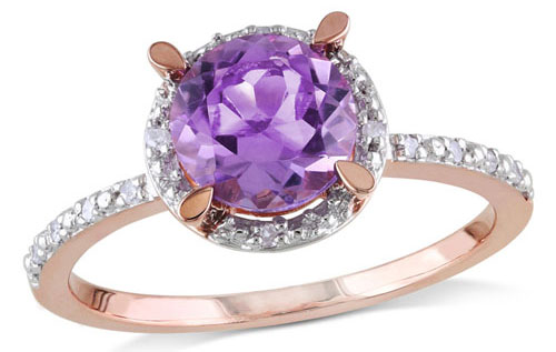 Amethyst Diamond Accent Engagement Ring via Zales