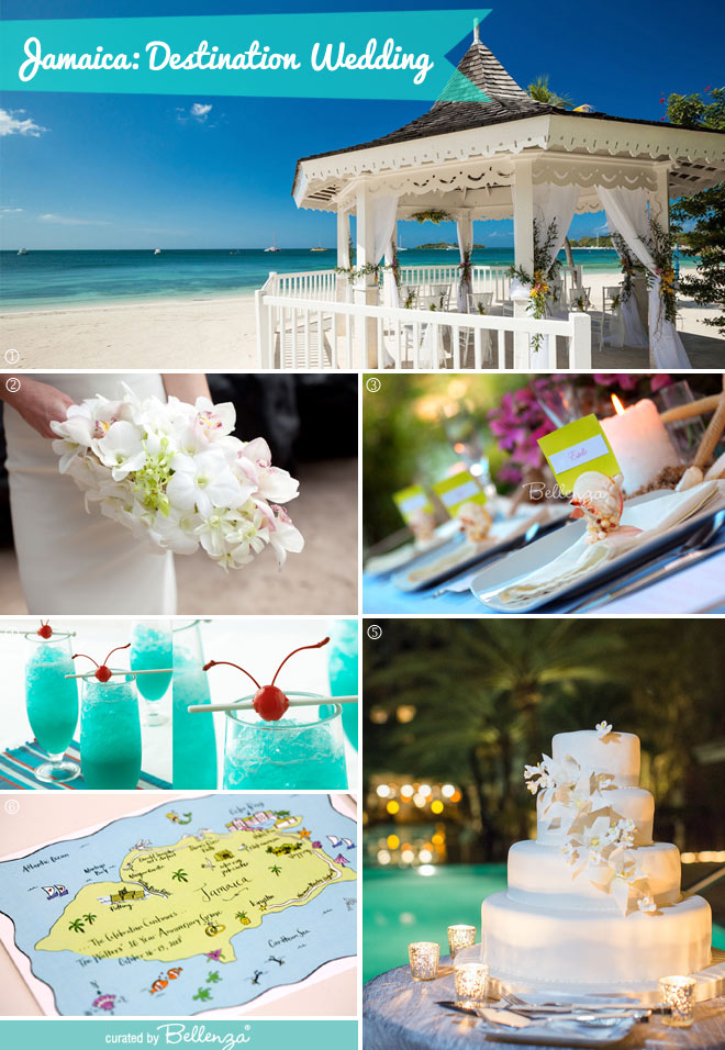 Inspiration board for a Jamaica destination wedding // curated by Bellenza.