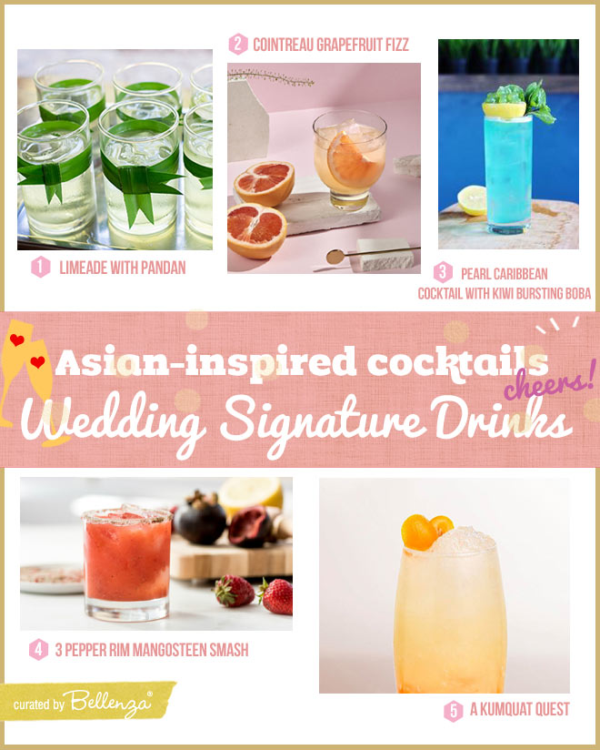 Asian citrus cocktails with lime, pineapple, mangosteen for wedding drinks