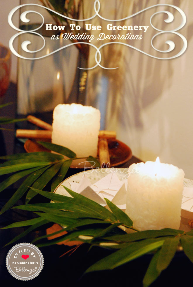 Craft a simple candle centerpiece with bamboo leaves.