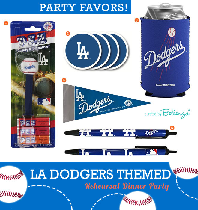 LA Dodgers-inspired Wedding Rehearsal Dinner Favor Ideas