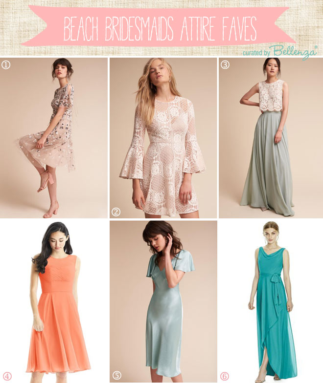 Fun, feminine, flowing, flirty bridesmaids dresses for beach weddings.