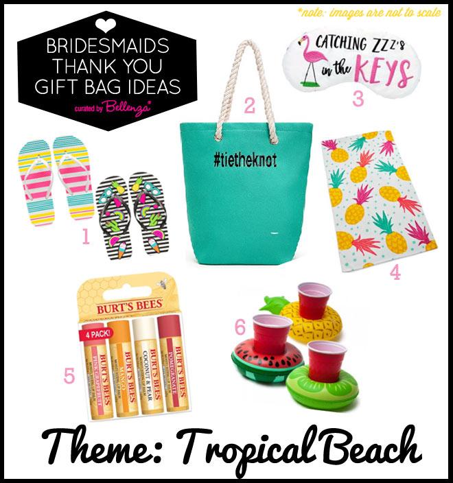 Tropical beach babe bridesmaids gift bag fillers