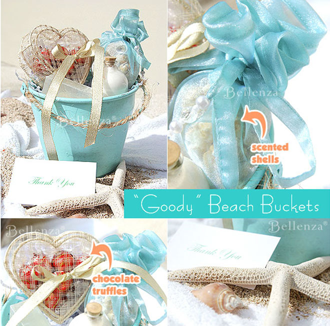 Beach buckets for destination beach wedding favors.