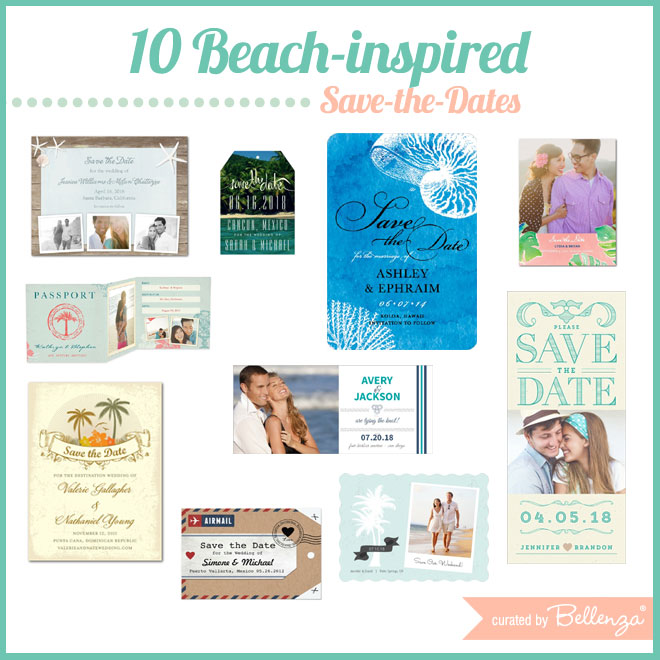 Stylish Beach Save-the-Dates for Summer Weddings