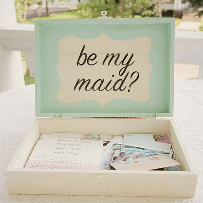 Be my maid in seafoam green box