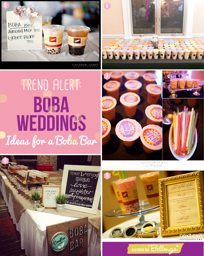 Drink Flavors, Signs for a Boba Wedding Drinks Station