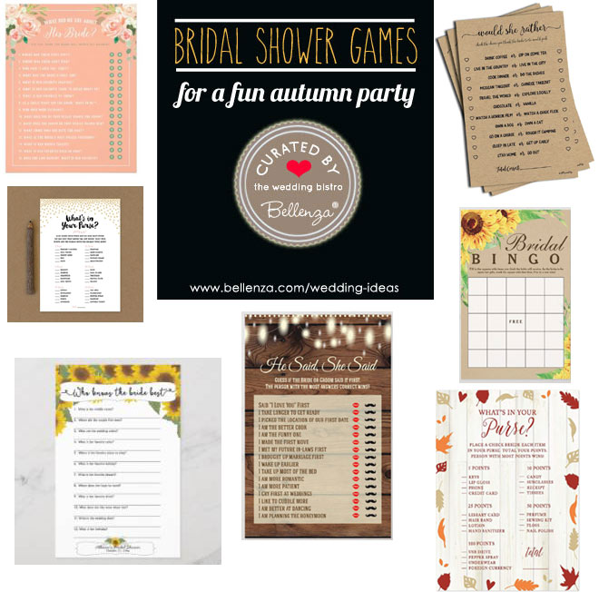 bridal shower game sheets for fall