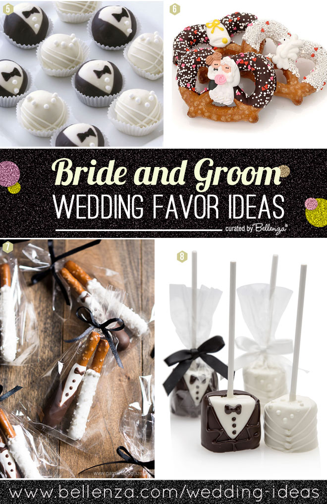 Edible bride and groom wedding favors from cake balls to pretzel rods.