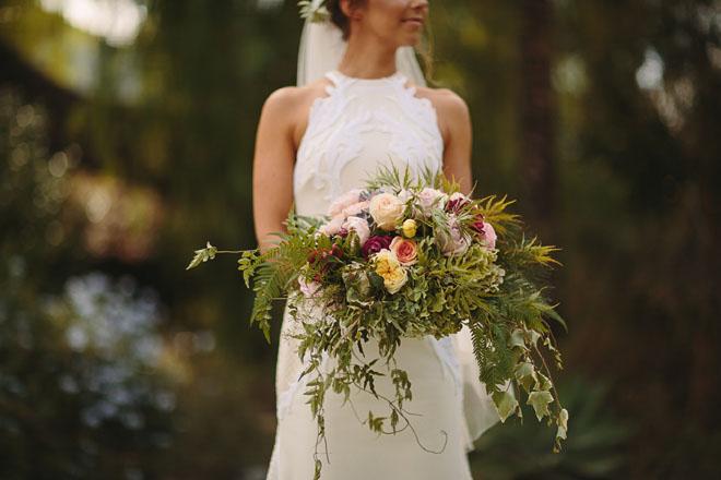 Bright floral asymmetrical bouquet.
