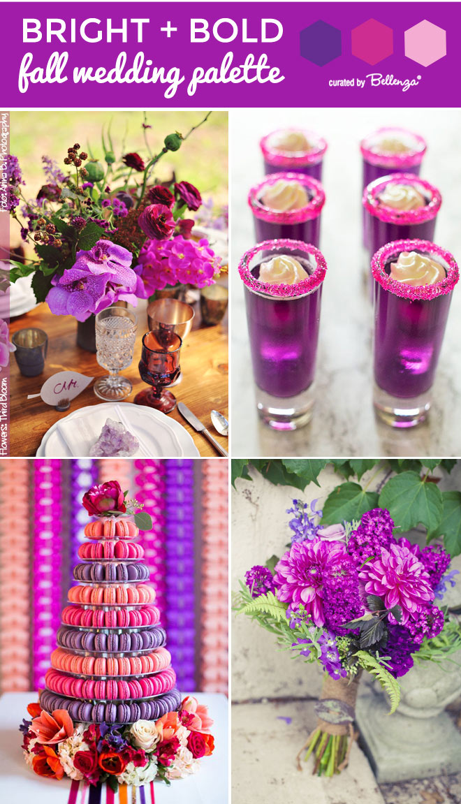 Bright fall wedding in purple, magenta, and fuchsia.