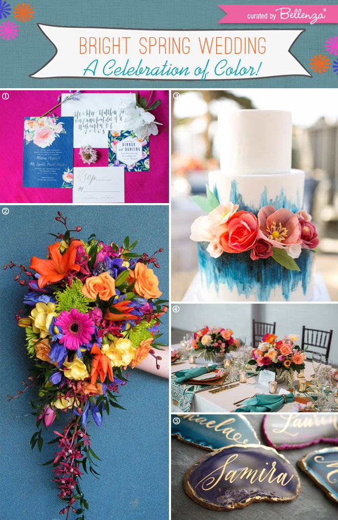 Bright Spring Wedding that Celebrate Color with Modern and Elegant Touches // Curated by Bellenza.