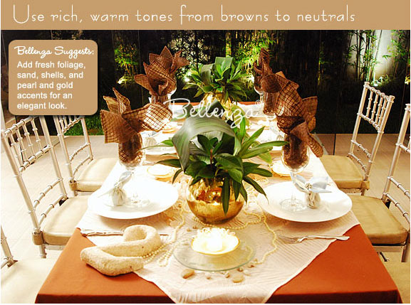 Brown beach tablescape with green accents