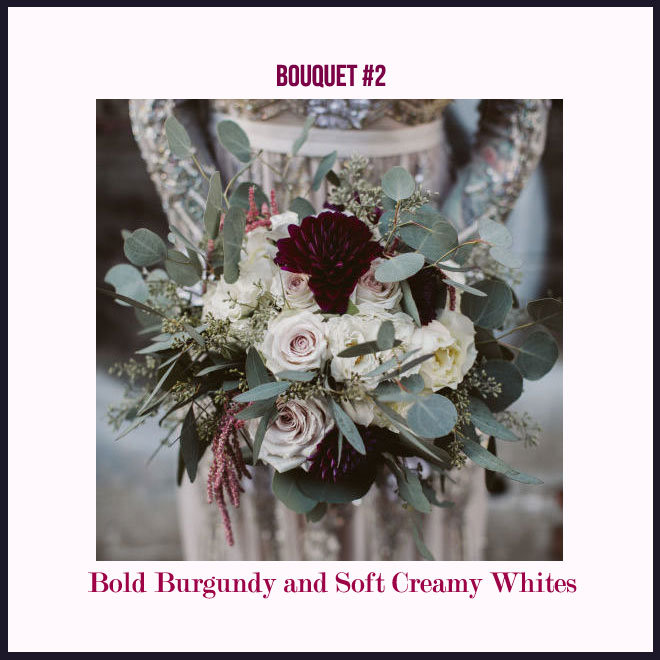 Bouquet #2 in Bold Burgundy and Soft Creamy Whites
