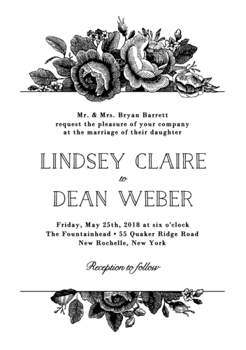 Vintage Floral Wedding Invitation via Paper Source