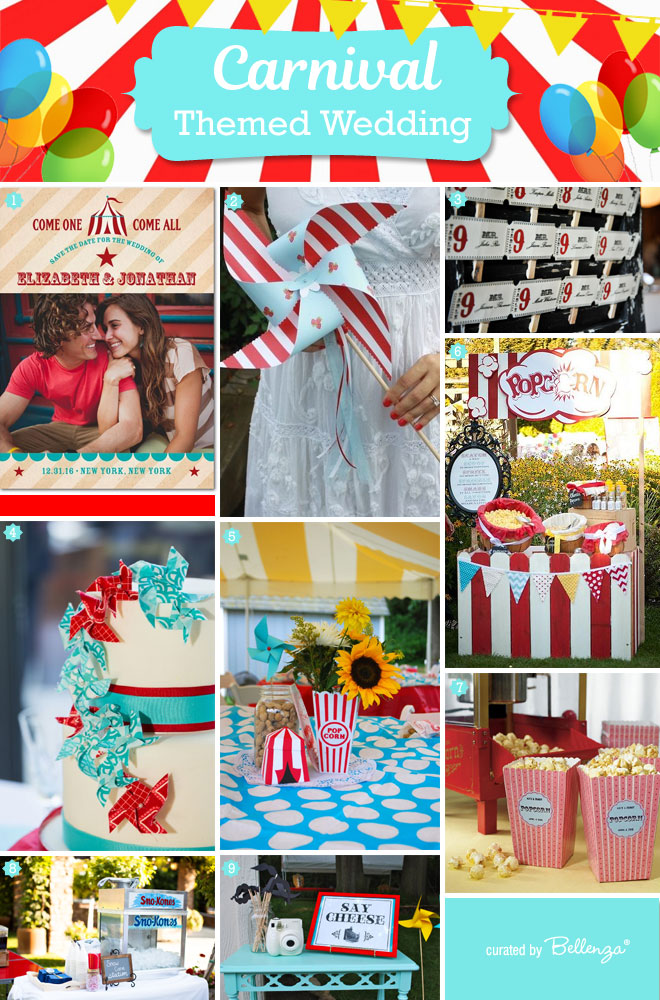 Plan your own carnival themed wedding in aqua and red with vintage details.
