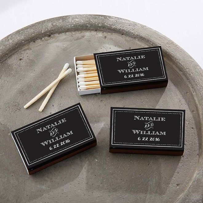 Chalkboard Style Matchboxes in Black via myweddingfavors