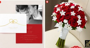 Modern Chinese Wedding Invitation and Bouquet
